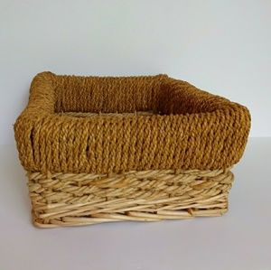 Gamjali StylHOME Accents - Boho Two Toned Wicker Rope Detail Basket